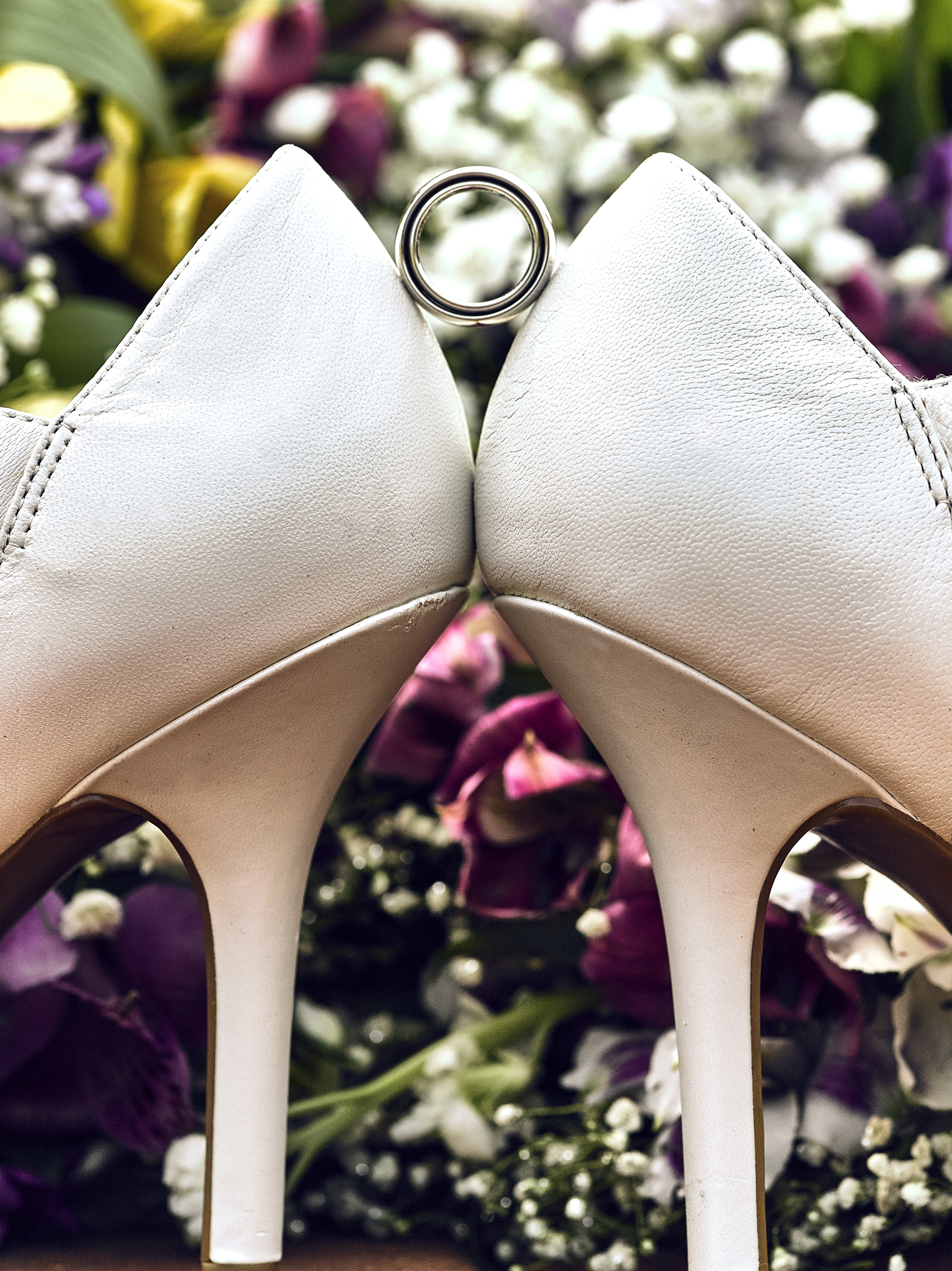 Wedding Ring Shoes and Flowers